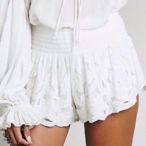 Free People Shorts - free people   cream kadek lined lace shorts sz M